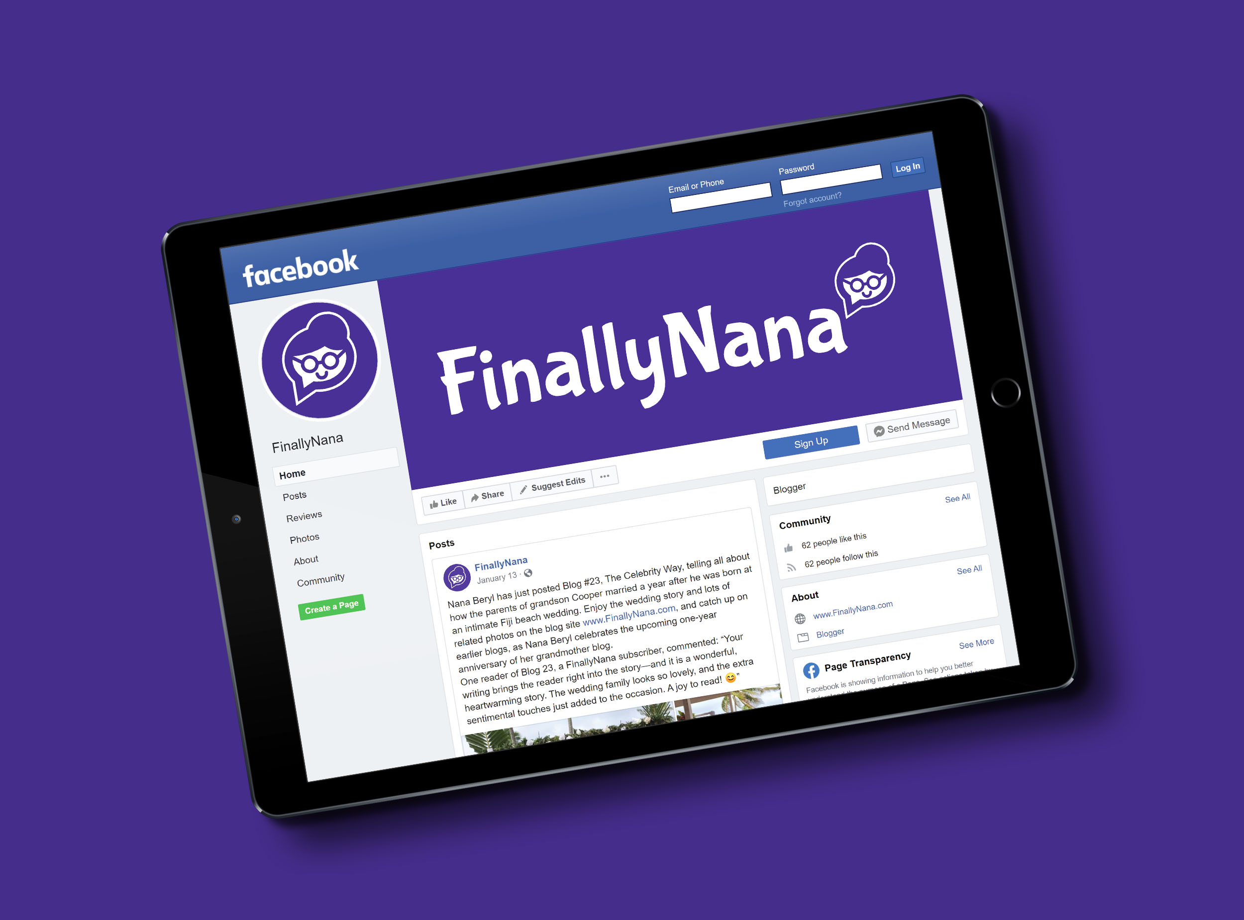 FinallyNana Tablet Facebook Layout