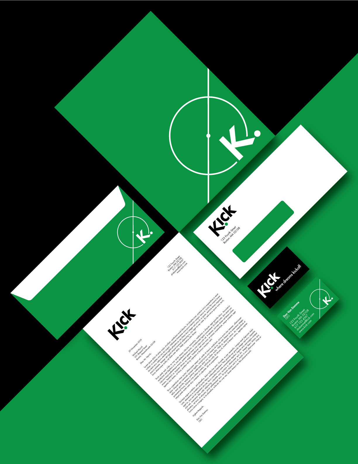 Kick Brand Identity Stationery Suite