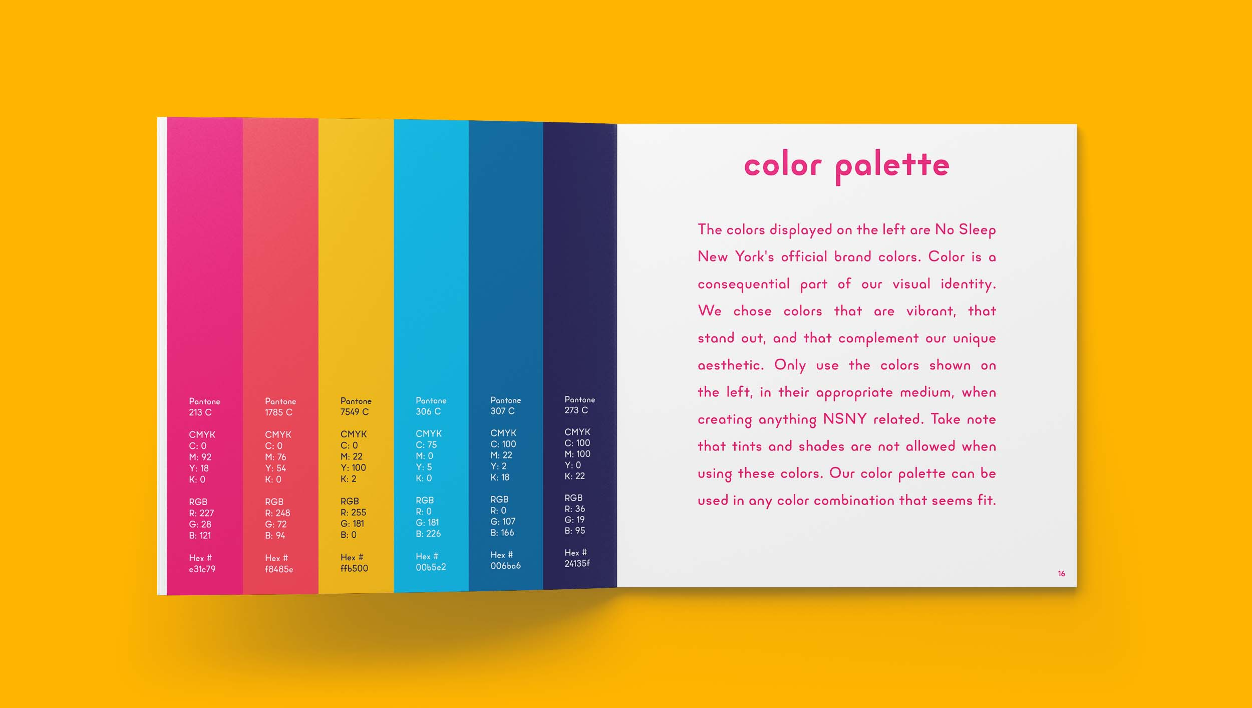 No Sleep New York Brand Guidelines Color Palette