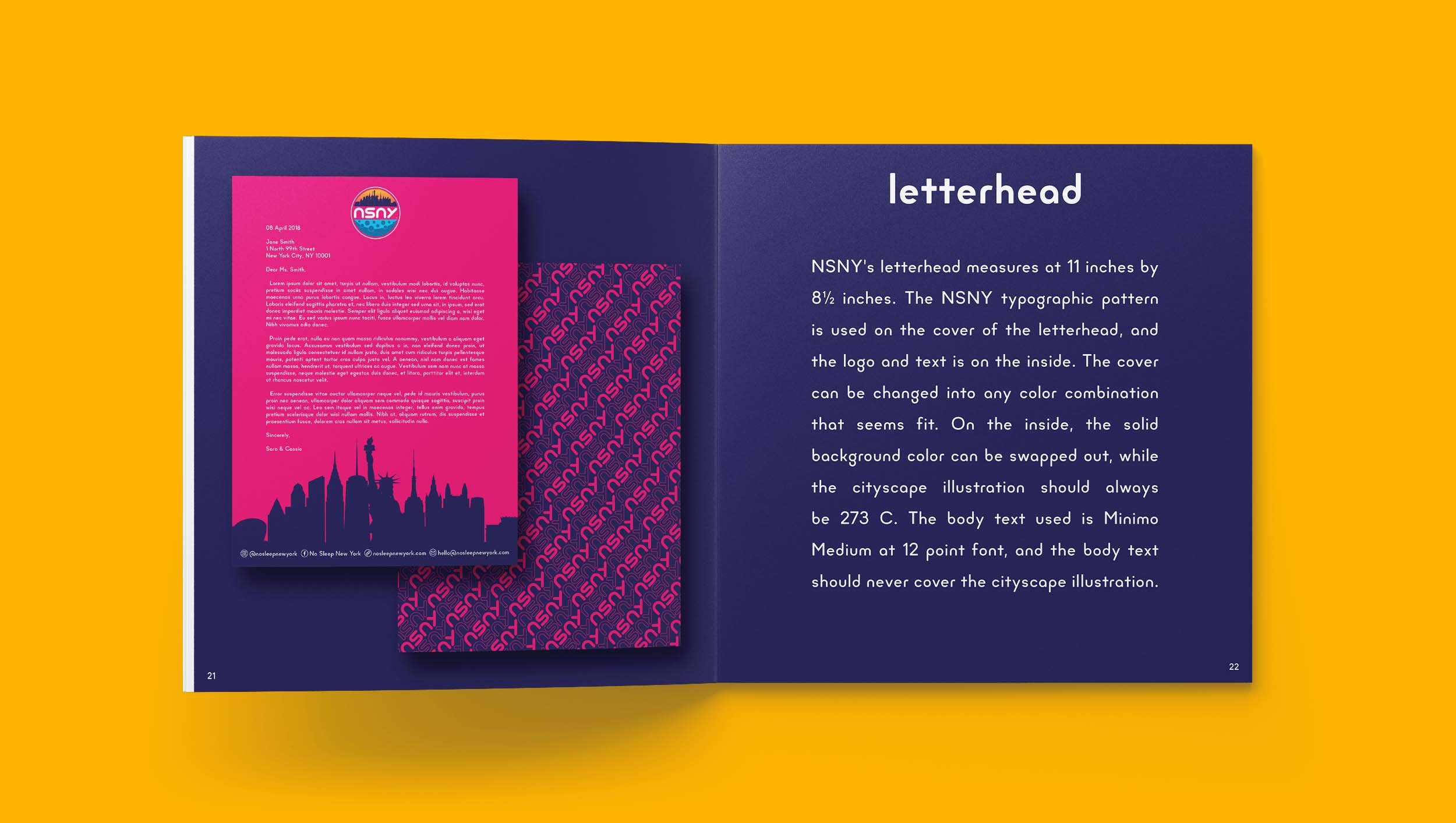 No Sleep New York Brand Guidelines Letterhead Design